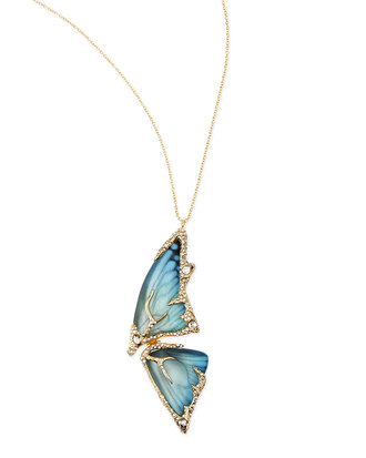 jewels pave crystal butterfly wing pendant necklace azure necklace butterfly yellow
