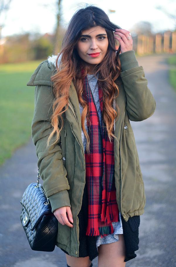 she wears fashion coat dress scarf sweater shoes