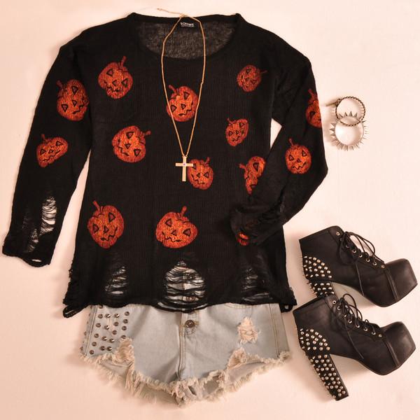 sweater romwe black jumper halloween pumpkins