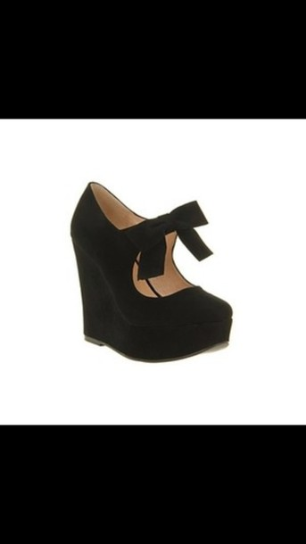shoes black heels black shoes wedges high heels bows girly semi formal semi formal bow high heels