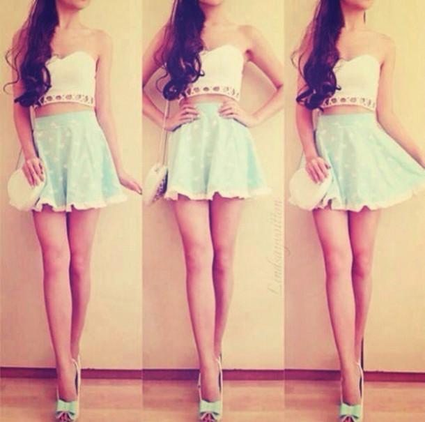 skirt shoes crop tops shoulder purse bow heels bag blouse