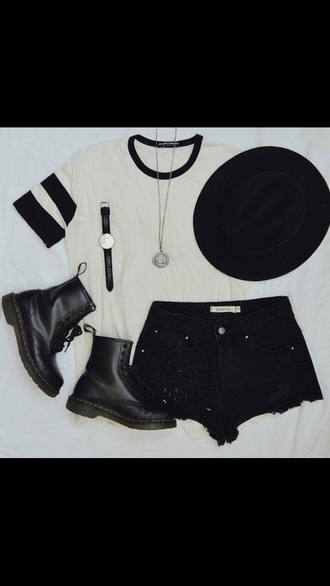 bag grunge boots white t-shirt hat drmartens shorts tank top shoes jewels shirt