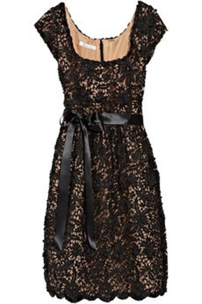 dress lace black lace bow scoop neck black dress