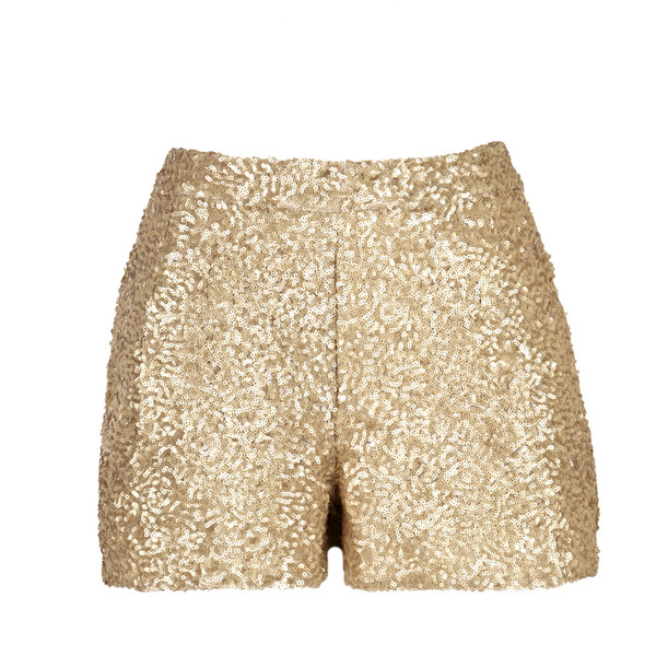 Gold Sequin Shorts With Pockets - Polyvore