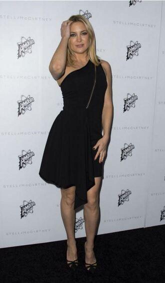 dress one shoulder black dress kate hudson
