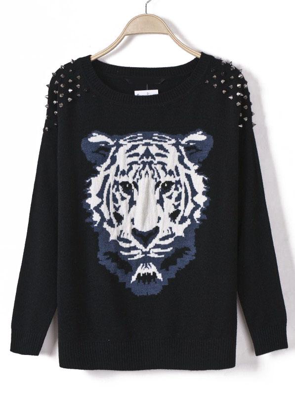 Pull-over à motif tigre et orné de rivets -Noir
