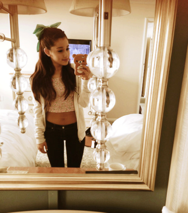 shirt crop tops bow mint hair bow bear phone case cute sweet creamy hoodie black skinny jeans hoodie ariana grande outfit colorful patterns polka dots jacket jeans hat tank top floral tank top