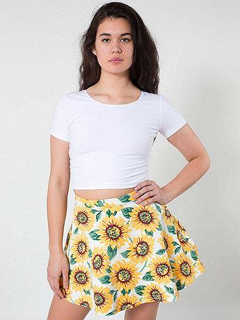 Sunflower Print Stretch Bull Denim Circle Skirt | American Apparel