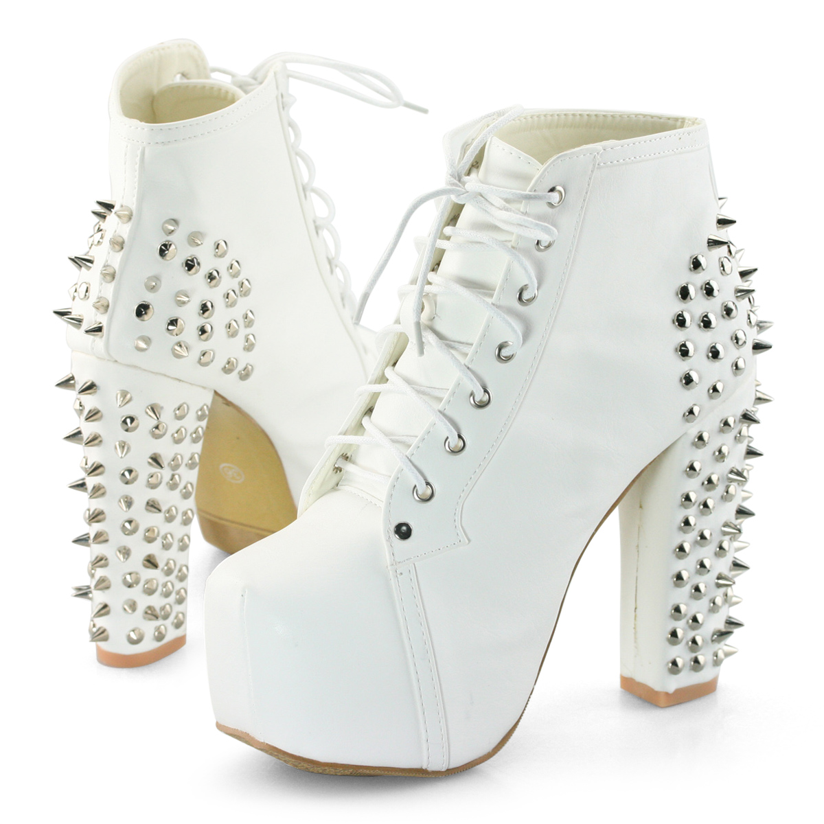 Womens Spike Studded Goth Punk Rock Platform High Heel Shoes Lace Up Ankle Boots | eBay
