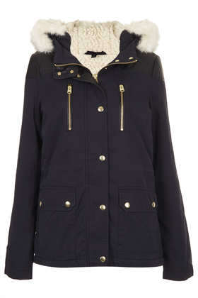 Fur Trim Borg Lined Short Parka - Parkas & Trenches - Jackets & Coats  - Clothing - Topshop