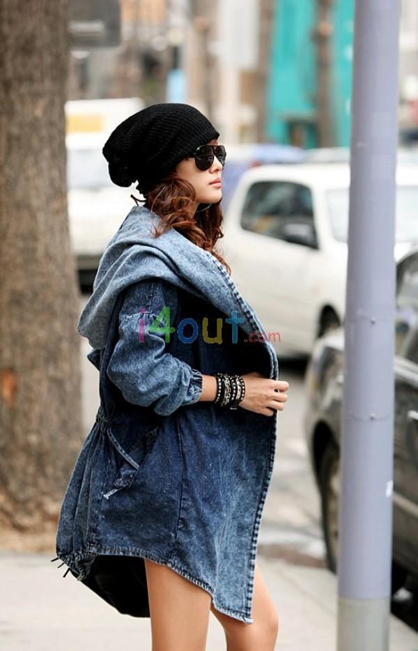 New Women Hoodie Trench Washed Drawstring Denim Jeans Jacket Coat Blazer   eBay