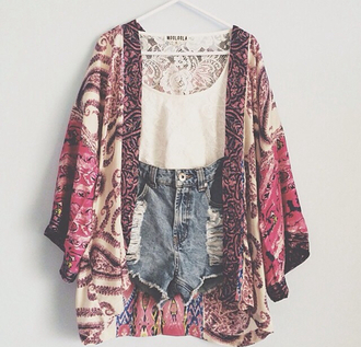 shorts denim shorts top kimono ripped shorts coat tank top boho jacket sweater shirt cute white high waisted shorts floral summer spring pink denim floral jacket floral print blouse blouse t-shirt belt hippie indie boho bohemian gypsy fashion clothes trendy crop tops style lookbook cardigan