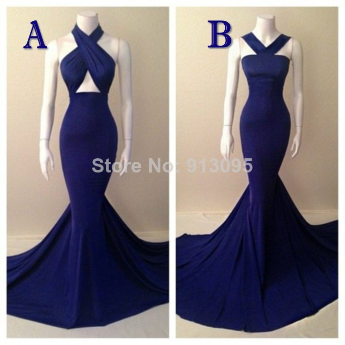 Long Prom dresses 2014 Halter Sleeveless Court Train Real Sample Mermaid Evening Dress Navy Blue Formal Evening Dresses-in Prom Dresses from Apparel & Accessories on Aliexpress.com