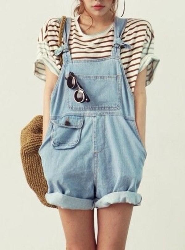 pants overalls jeans salopette shorts cute outfit summer dress dungarees jumpsuit vintage jumpsuit jumpsuit jeans romper baggy short overalls light denim