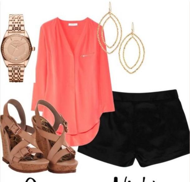shirt coral coral shirt fashion fancy summer dress summer top pink blouse flowy v neck three-quarter sleeves