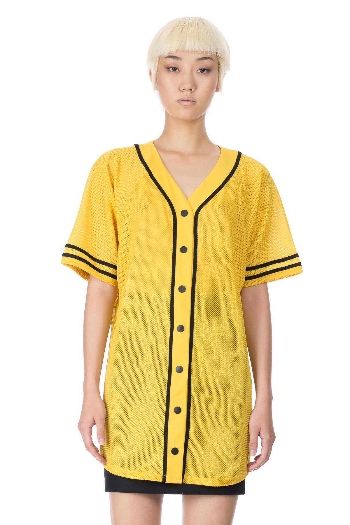 RIHANNA FOR RIVER ISLAND MESH BASEBALL SHIRT - WOMEN - TOPS - RIHANNA FOR RIVER ISLAND
