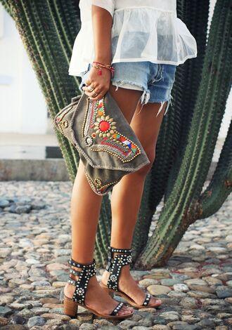 sincerely jules blouse bag shoes pouch blogger shirt summer outfits shorts denim denim shorts sandals high heels hippie hipster boho boho chic levi's clutch bracelets antik batik embellished bag stacked wood heels