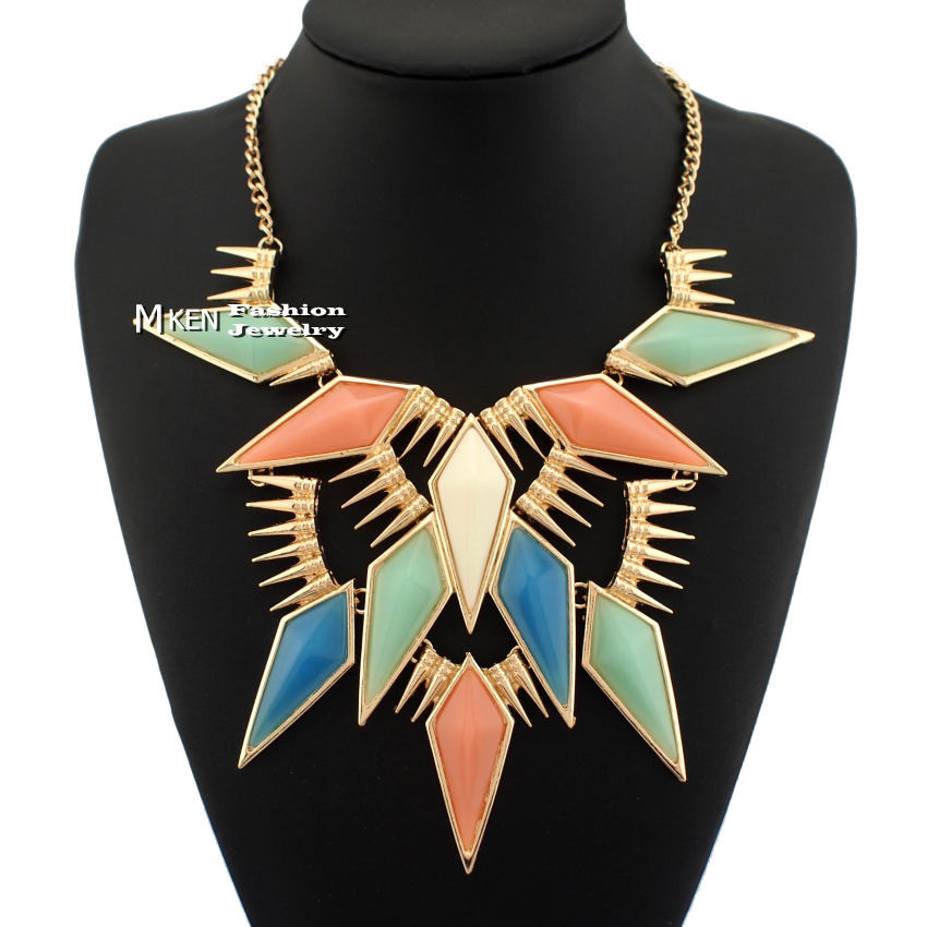 Exaggerated Punk Jewelry Fashion Gold Rivets Multicolor Acrylic Pendant Statement Collar Choker Neckalce Free Shipping N1679-in Choker Necklaces from Jewelry on Aliexpress.com