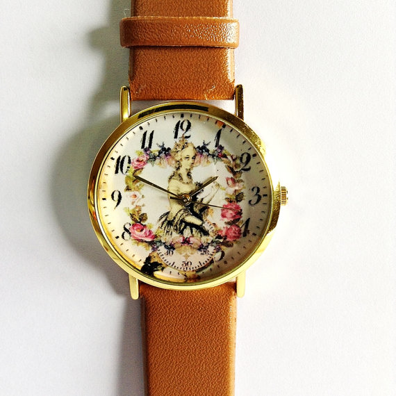 Floral Watch Marie Antoinette  Vintage Style Leather by FreeForme