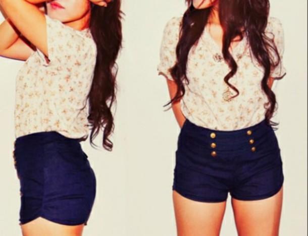 blouse hipster blouse shorts flowers blouse floral blouse