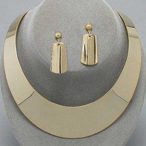 Elegant Diva Polish Gold Chunky Choker Collar Necklace Set Statement Jewelry on Wanelo
