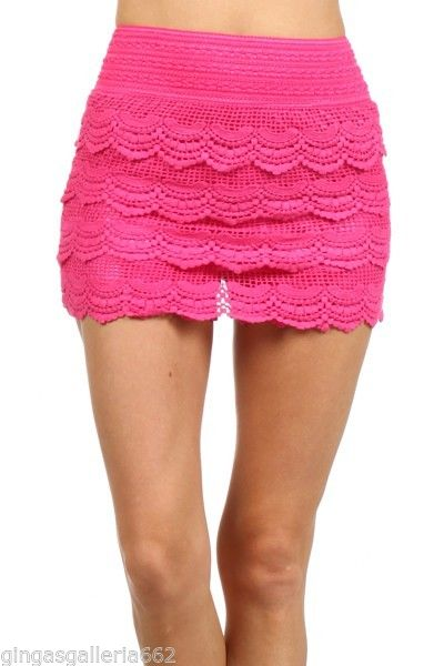 Boutique Layered Crochet Lace Wide Band Shorts Pink | eBay