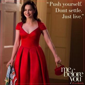 dress emilia clarke me before you red sam claflin movie film clothes fashion red dress cocktail dress