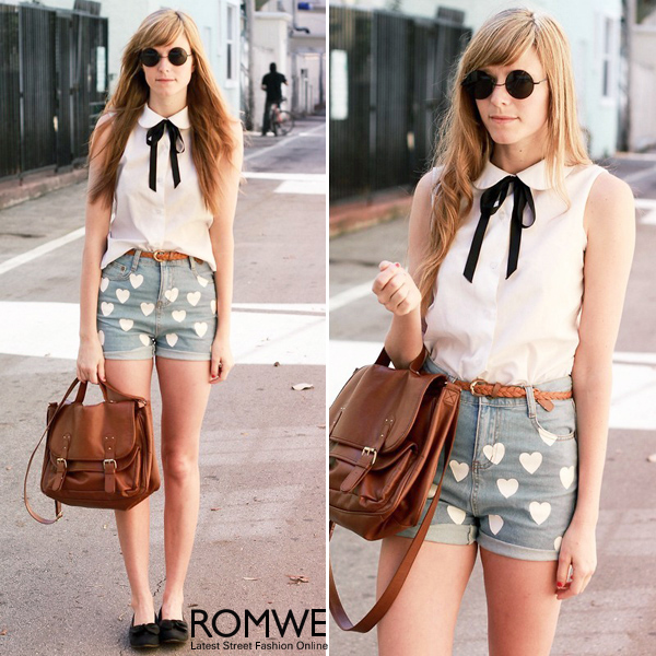 ROMWE | Hearts Print Ligth-blue Denim Shorts, The Latest Street Fashion