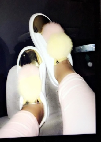 shoes pink lemonade white and gold shoes pom pom shoes