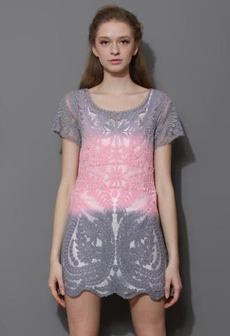 dress colorblock dip dyed mesh crochet