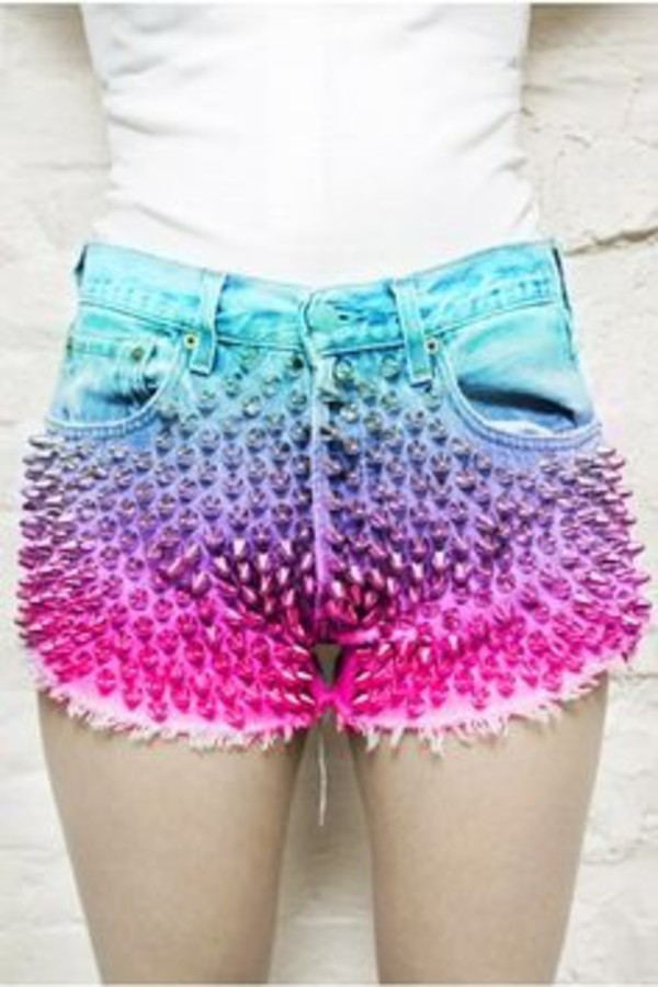 shorts pink blue studs