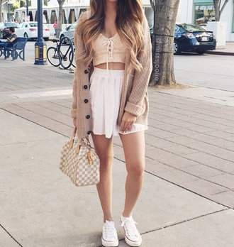 cardigan camel summer outfits top style skirt cute summer dress fall outfits outfit crop tops fashion clothes trendy bag