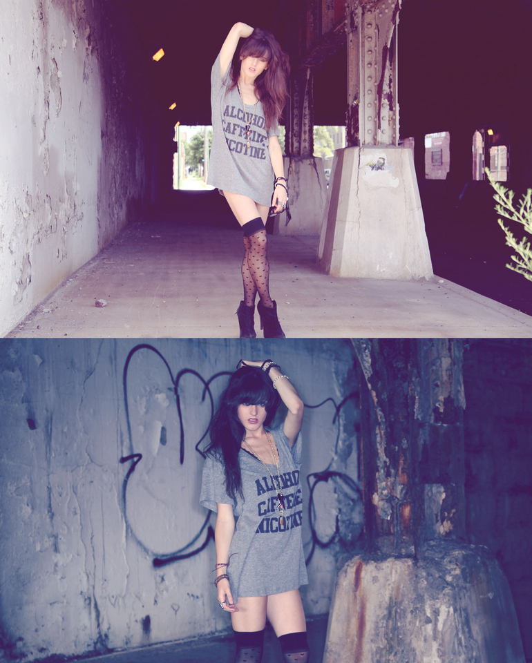 Rachel Lynch - Urban Outfitters Alcohol Caffeine Nicotine Tee, American Apparel Heart Thigh Highs, Mama Golden Thrift And Furniture Gold Chains - Alcohol caffeine nicotine | LOOKBOOK
