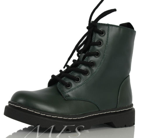 Dark Green Faux Leather Patent Lace Up Military Combat High Ankle Boots Grunge | eBay