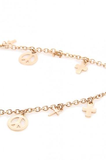OMG Cross and Peace Leg Chain - Gold
