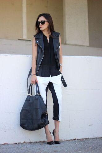 frankie hearts fashion blogger sleeveless vest black and white maxi bag