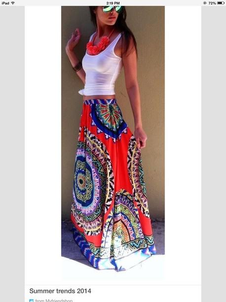 skirt colorful maxi skirt