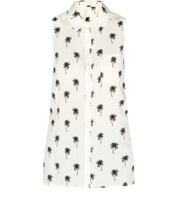 Cream Sleeveless Longline Palm Tree Print Shirt