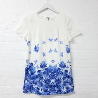 dress shift short sleeve dress floral dress