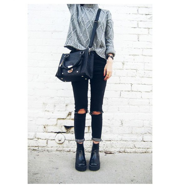 sweater grey sweater jeans ripped jeans bag ankle boots grunge cable knit pants black pants skinny pants fashion style black jeans shoes blouse cardigan grey sweater black mini bag messenger bag ripped skinny jeans chelsea boots jeans black shirt tumblr black ripped jeans boots black boots platform boots black bag tassel fall outfits