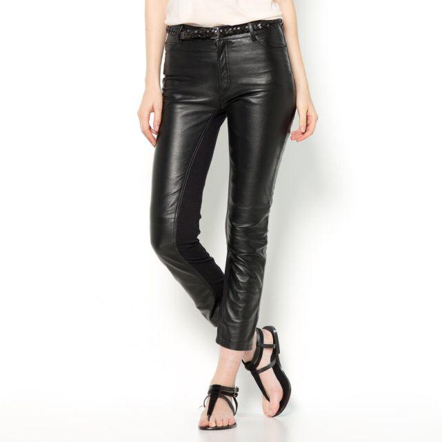 Pantalon slim en cuir et maille milano Soft Grey | La Redoute