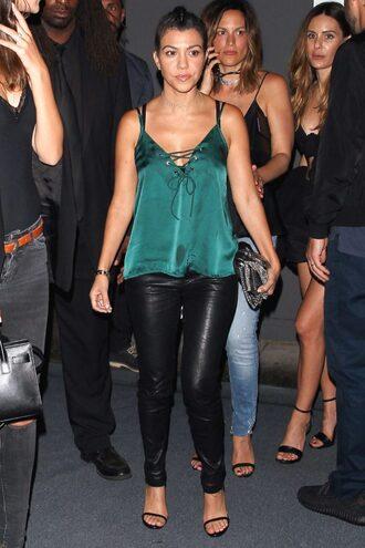 top blouse pants sandals kourtney kardashian green satin