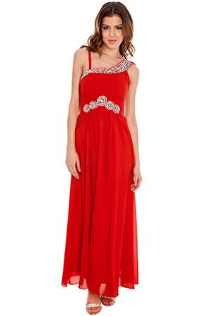 V-Point One Shoulder Chiffon Maxi Dress