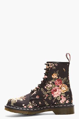 Dr. Martens Black Victorian Flowers 1460 W 8-eye Boots for women   SSENSE