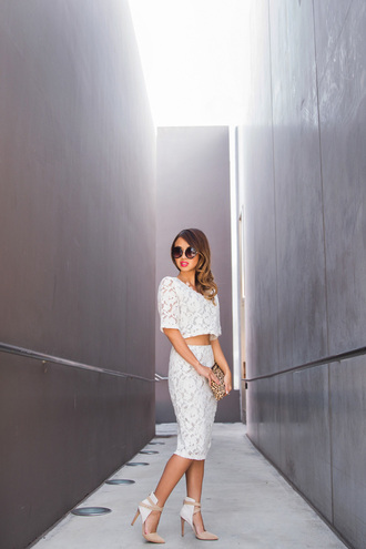 lace and locks blogger white skirt lace top lace skirt white crop tops two-piece heels top skirt shoes bag printed pouch high waisted skirt pencil skirt crop tops high heels round sunglasses animal print bag
