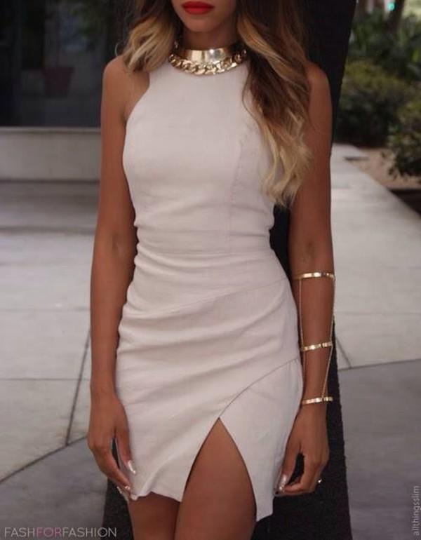 dress earphones jewels gold jewelry white dress cut-out slit dress thighcut white mini dress cut-out dress jewerly nude classy bodycon dress formal