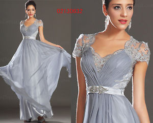 eDressit Short Sleeeves Lace Back Grey Evening Dress Prom Ball Gown UK 6-20 | eBay