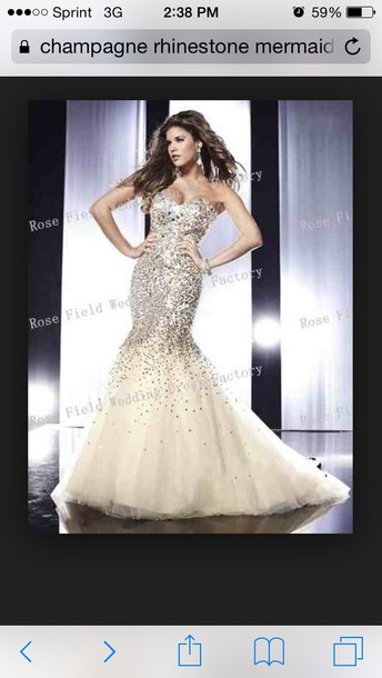 dress mermaid prom dress rhinestone