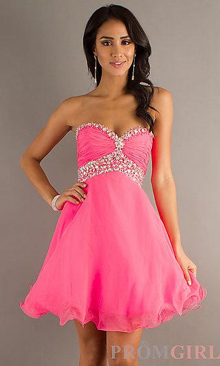 Short Strapless Prom Dresses, Babydoll Party Dresses- PromGirl
