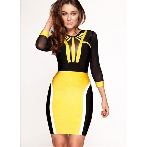 dress bandage dress bodycon dress celebrity style yellow dress